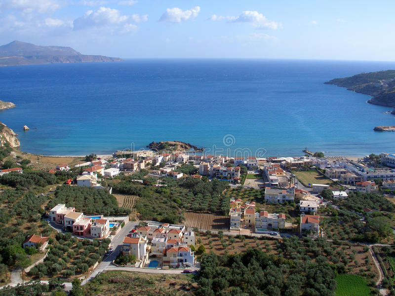 Almirida - Plaka strand, Chania, Kreta, Grekland royaltyfria bilder
