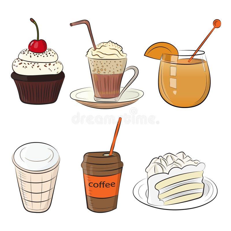 Almoço ajustado do café da manhã da manhã do café do alimento ou ícones simples ásperos tirados mão do esboço da garatuja da cozi ilustração stock