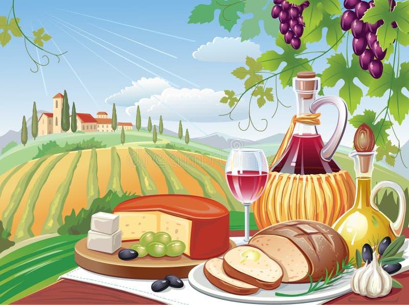 Almoço da vila. Toscânia ilustração stock