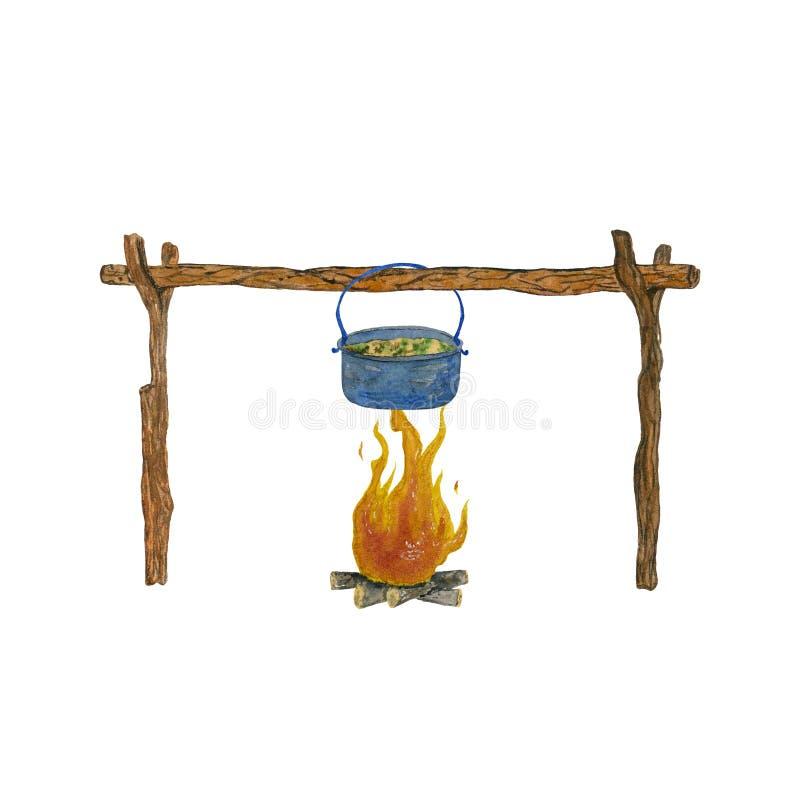 Almo?o de acampamento pelo fogo ilustração stock