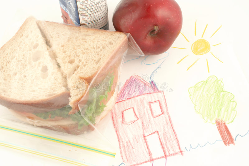Almoço de escola fotografia de stock royalty free