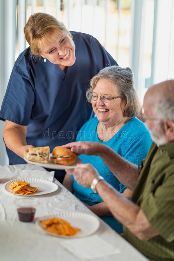 Almo?o de sorriso dos pares de Serving Senior Adult do doutor ou da enfermeira fotos de stock royalty free