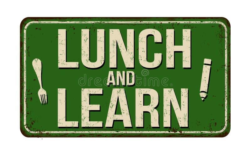 Almoço e para aprender o sinal oxidado do metal do vintage ilustração stock