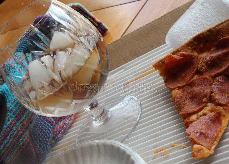 Almoço restante da pizza fotografia de stock