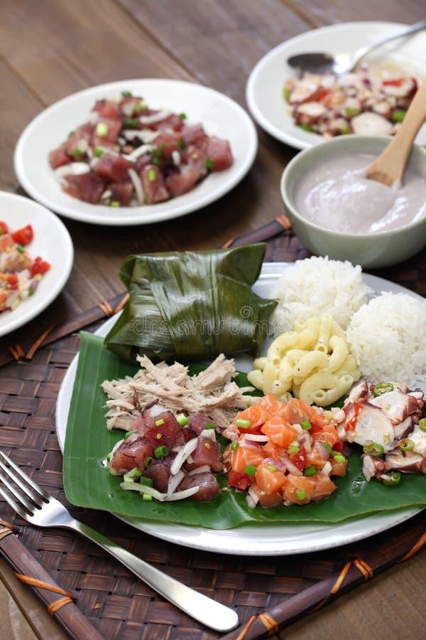 Almoço tradicional havaiano da placa imagem de stock royalty free