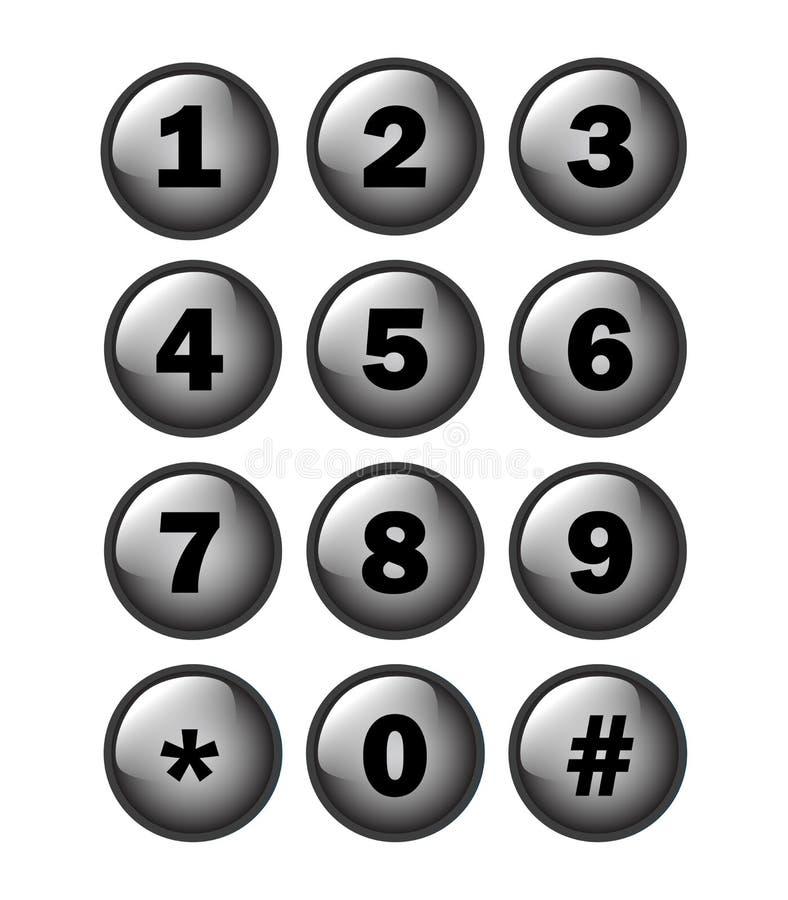 Almofada da chave do número de telefone ilustração do vetor