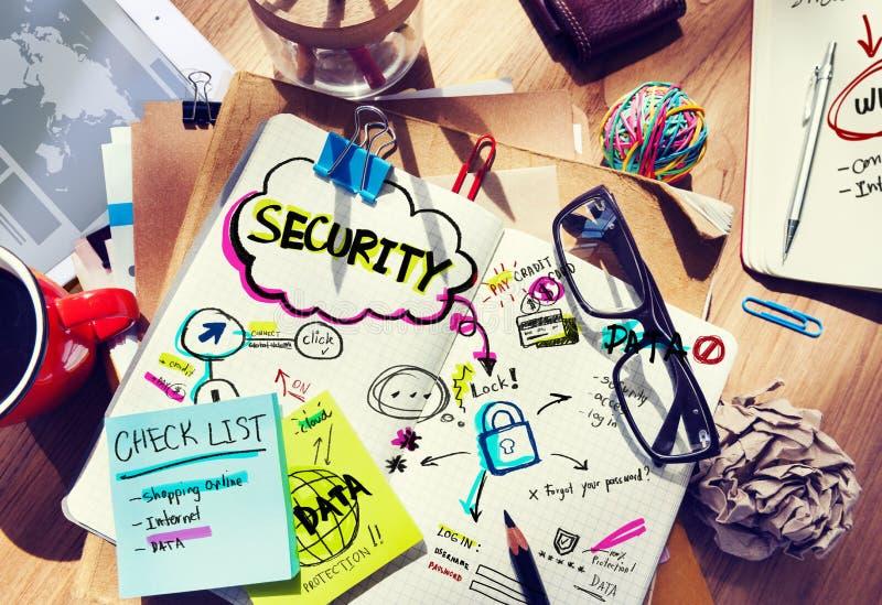 Almofada de nota e conceito da segurança foto de stock