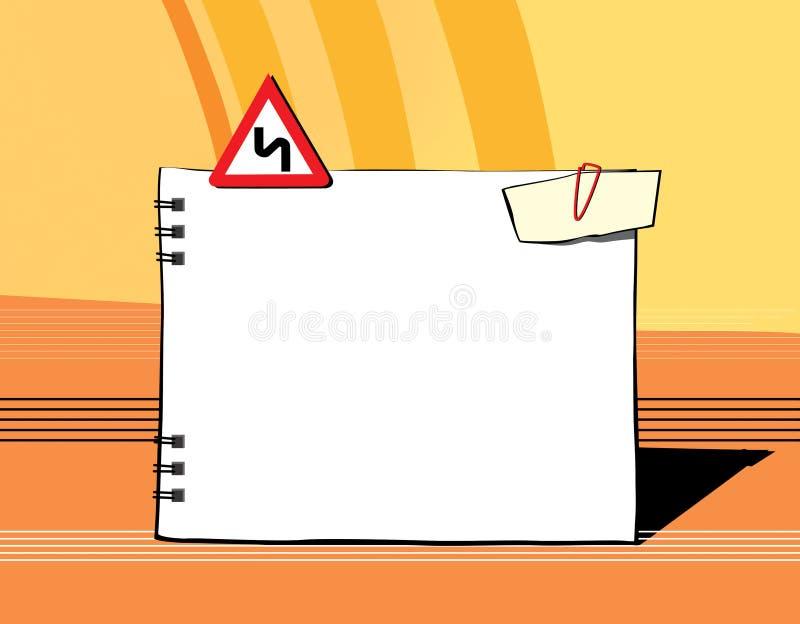 Almofada de nota vazia para entradas em um fundo laranja-amarelo Um sinal de estrada e um grampo com uma nota Curvatura perigosa ilustração royalty free
