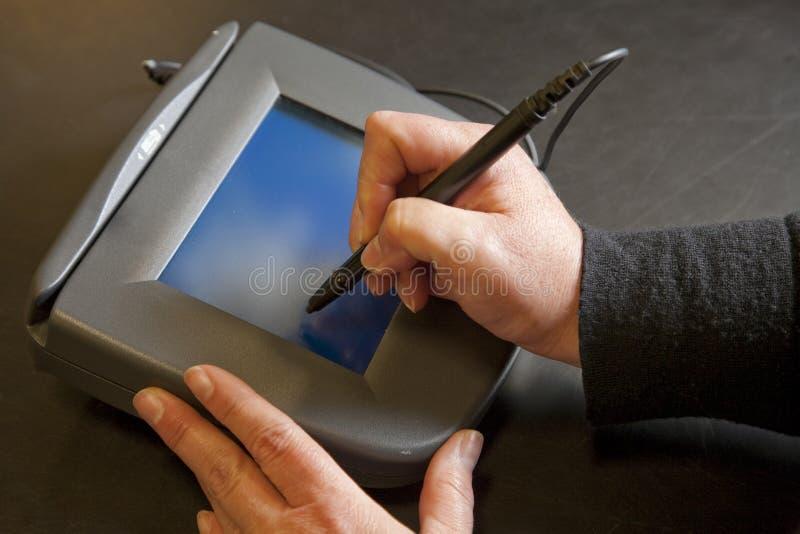 Almofada eletrônica da assinatura fotos de stock royalty free