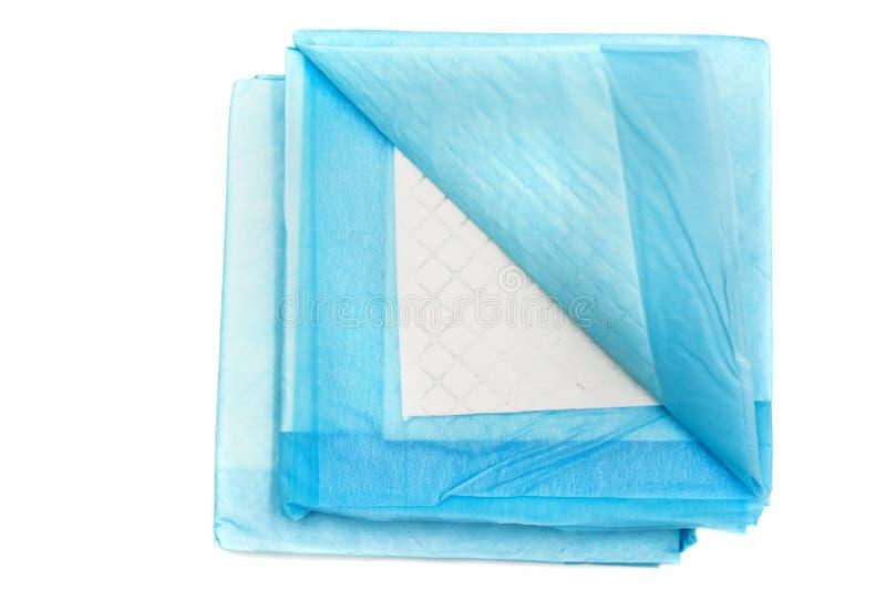 Almofadas do treinamento do toalete para os animais de estimação isolados no branco tapetes absorventes home para animais fotos de stock
