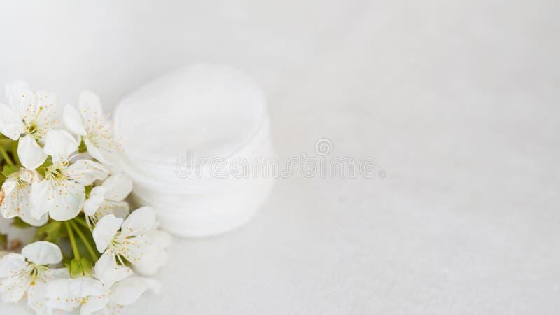 Almofadas e flor de algodão no fundo branco com espaço da cópia Conceito do cuidado do corpo da pele fotos de stock royalty free