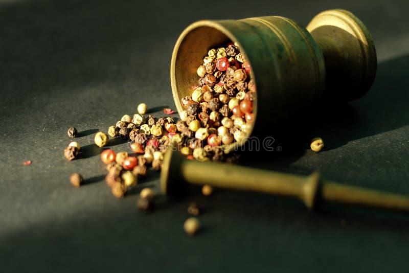 Almofariz com grãos de pimenta da mistura, fim acima foto de stock royalty free