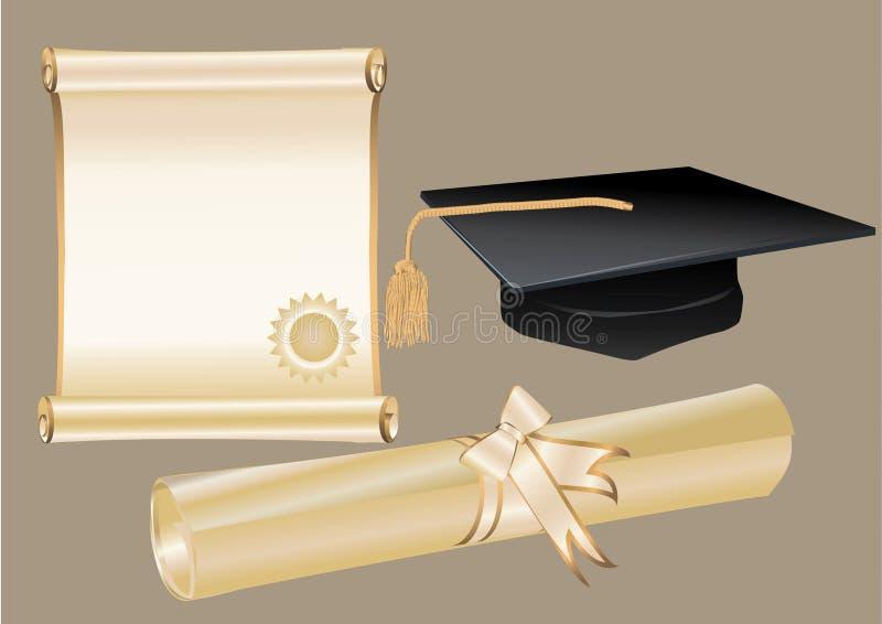 Almofariz e certificado do diploma ilustração royalty free
