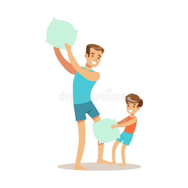 Almohada del papá que lucha con el hijo, tiempo cariñoso del papá de Enjoying Good Quality del padre con el niño feliz ilustración del vector