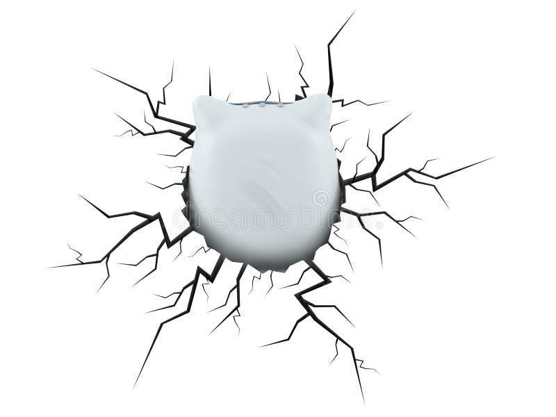 Almohada dentro del agujero agrietado ilustración del vector