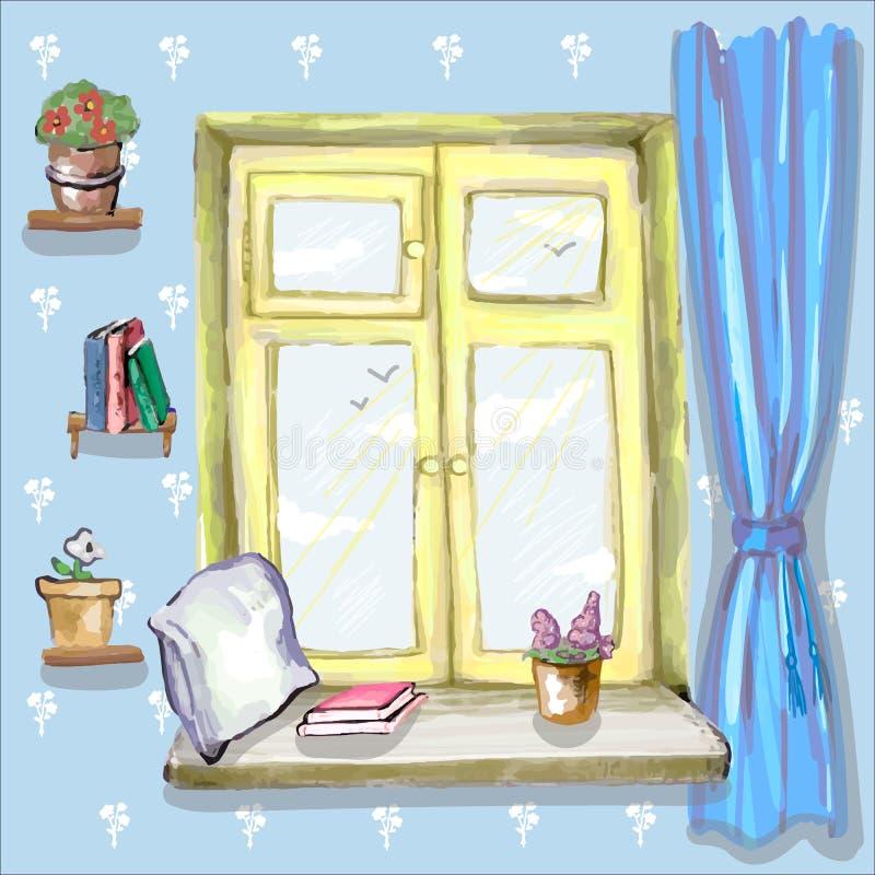 Almohada, libros y flor en la ventana ilustración del vector