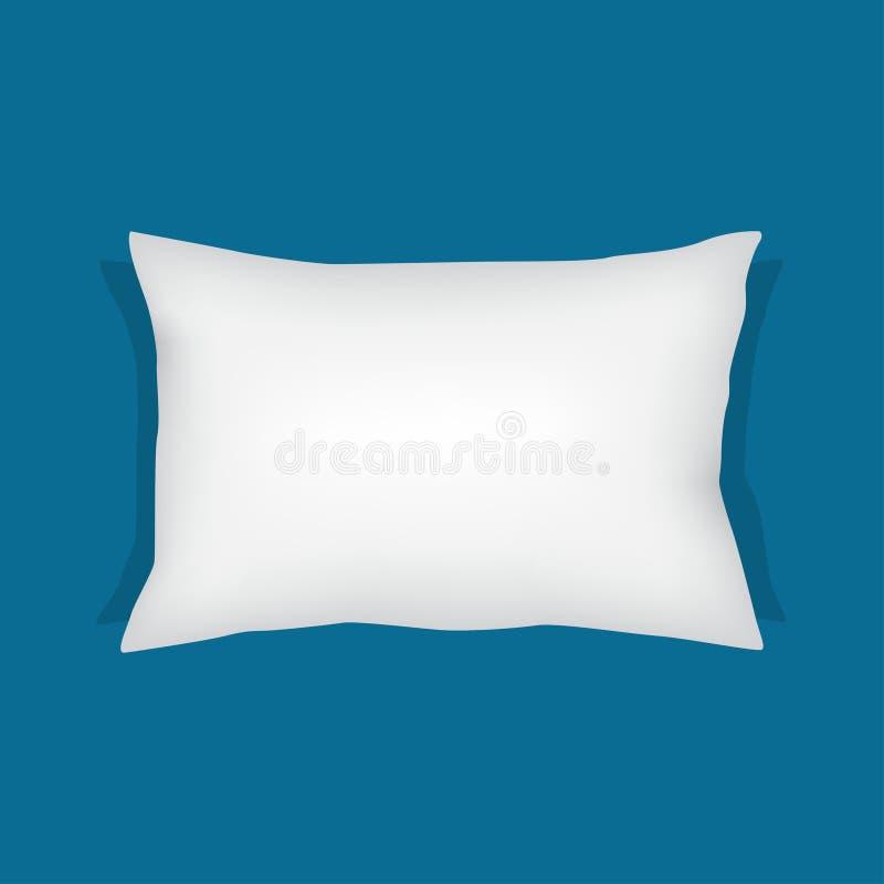 Almohada rectangular blanca, ejemplo del vector del amortiguador ilustración del vector