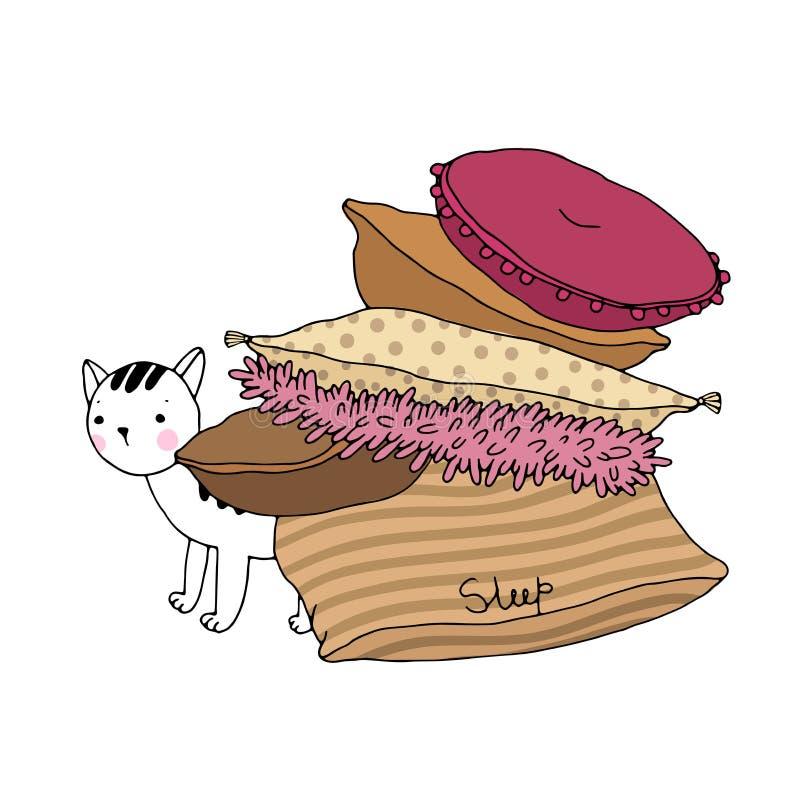 Almohadas y gato hermosos en un fondo blanco stock de ilustración