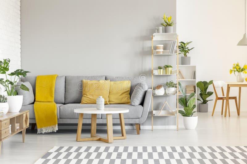 Almohadas y manta amarillas en el sofá gris en sala de estar moderna adentro foto de archivo