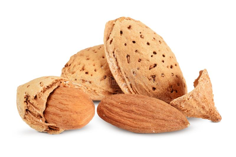Almond nuts in group isolated on white royalty free stock photo