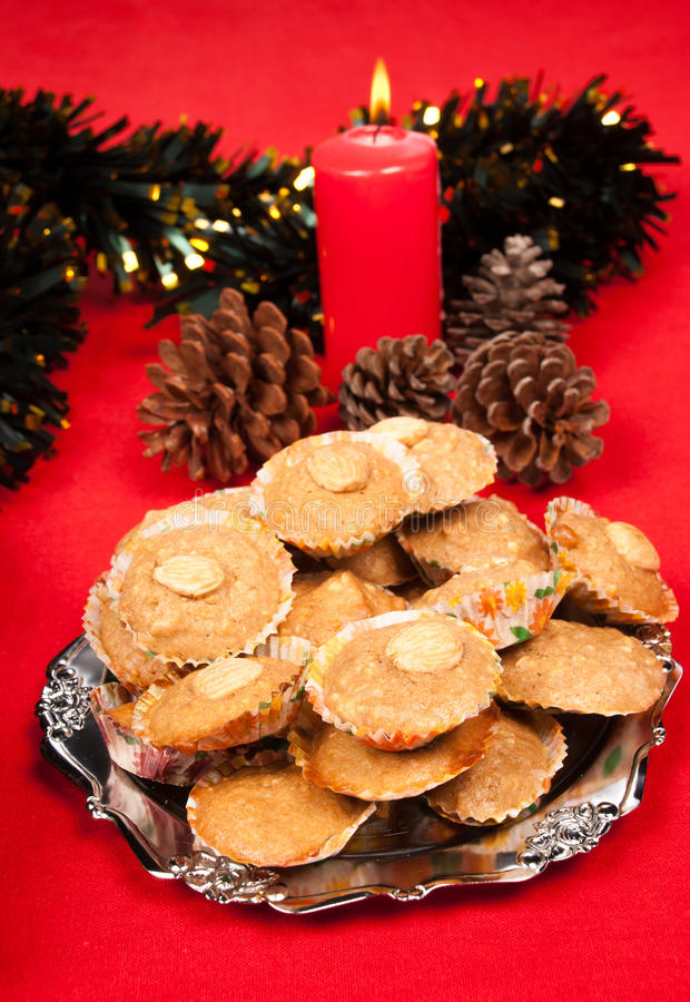 Download Almond Christmas cookies stock image. Image of candle - 26549429