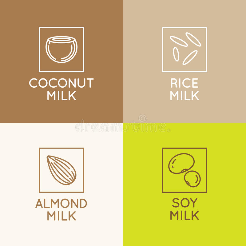 Almond, coconut, rice and soy milk. Vector set of packaging design elements and icons in linear style - almond, coconut, rice and soy milk - healthy vegan drinks stock illustration