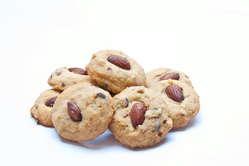 Almond cookies Isolated On White stock photography