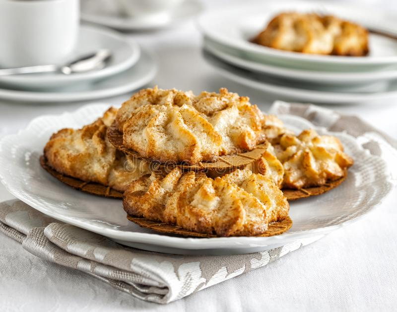 Almond cookies on a table stock image