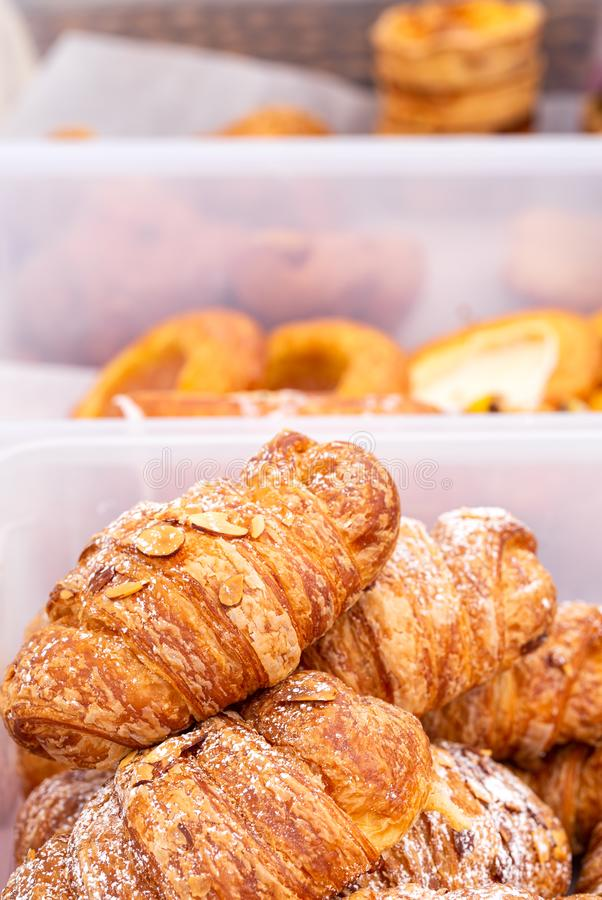 Almond croissant at an outdoor market stock images