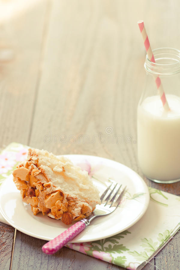 Download Almond Crunch Cake With Milk Stock Photo - Image: 20971412