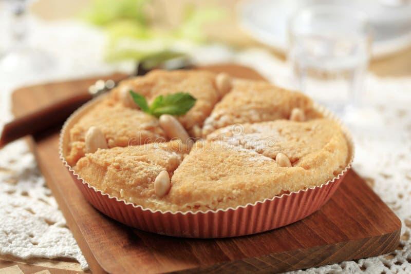 Almond dessert pie. Fresh baked almond dessert pie stock images