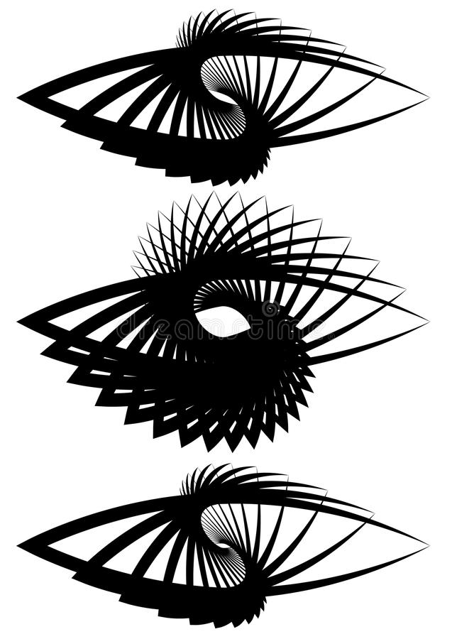 Almond, eye shapes with rotation effect. Almond shapes with rotation effect. Set of 3 different abstract monochrome element. - Royalty free vector illustration royalty free illustration