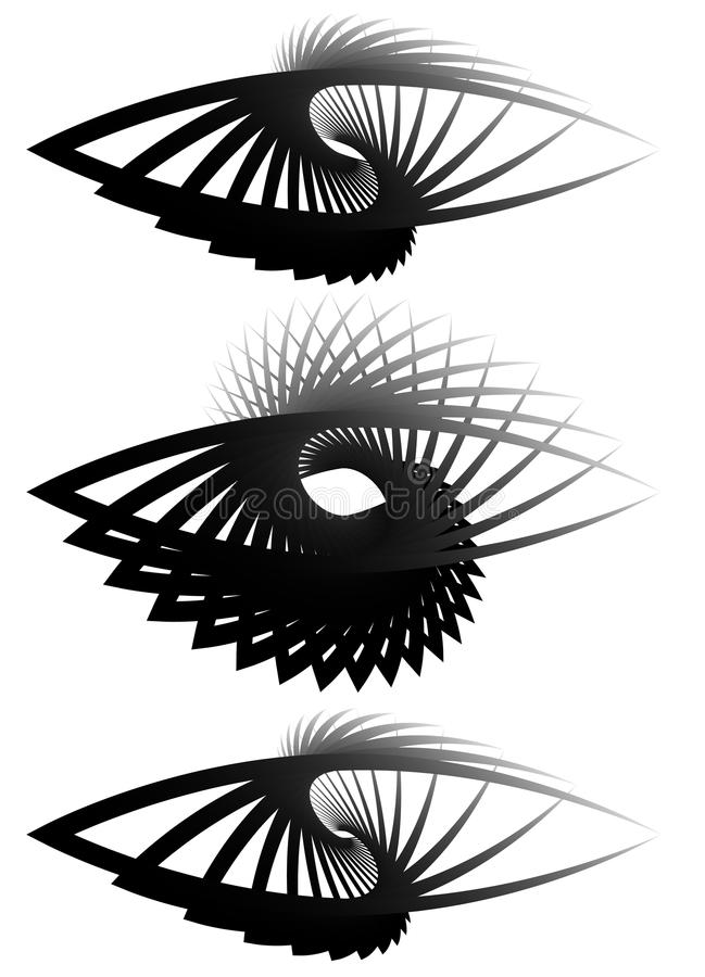 Almond, eye shapes with rotation effect. Almond shapes with rotation effect. Set of 3 different abstract monochrome element. - Royalty free vector illustration vector illustration