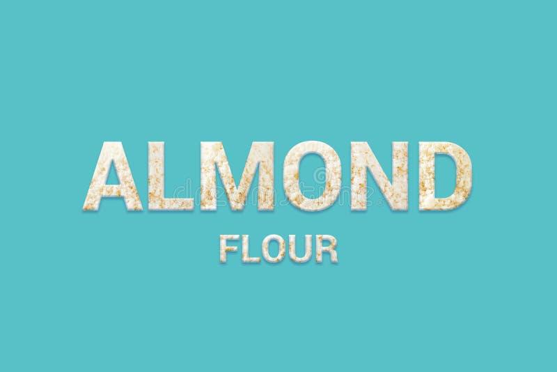Almond flour texture text on blue background. Vegan, Super food and detox food. Almond flour texture text on blue background. Typography of Super foods. Vegan royalty free illustration