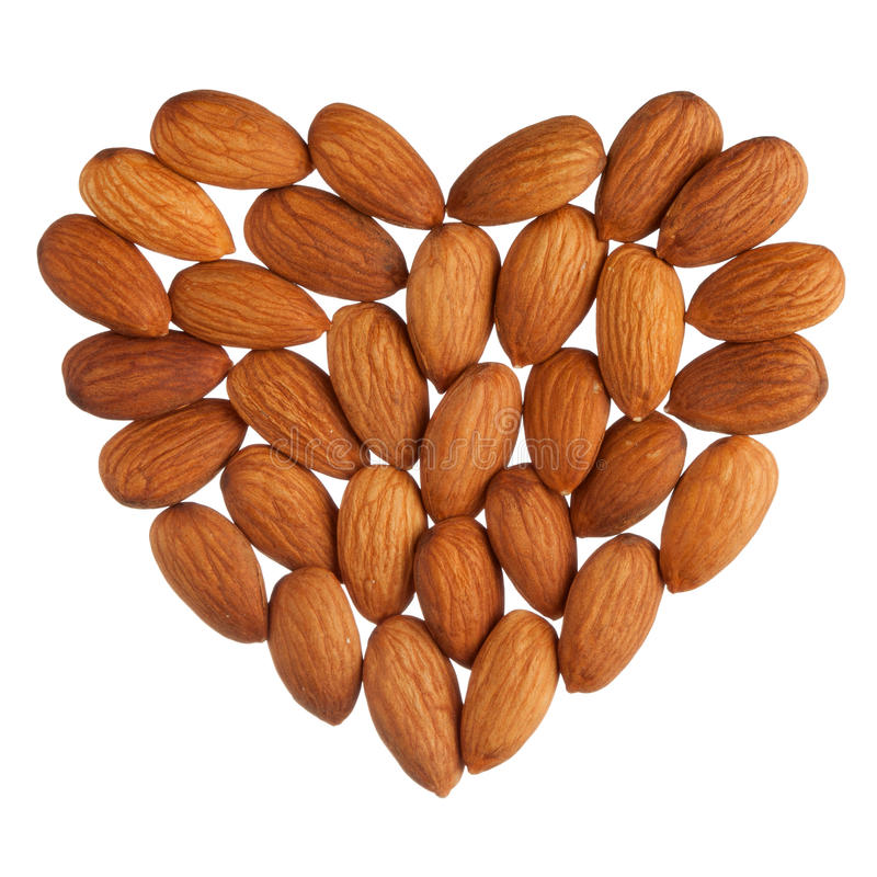 Almond heart isolated royalty free stock photos