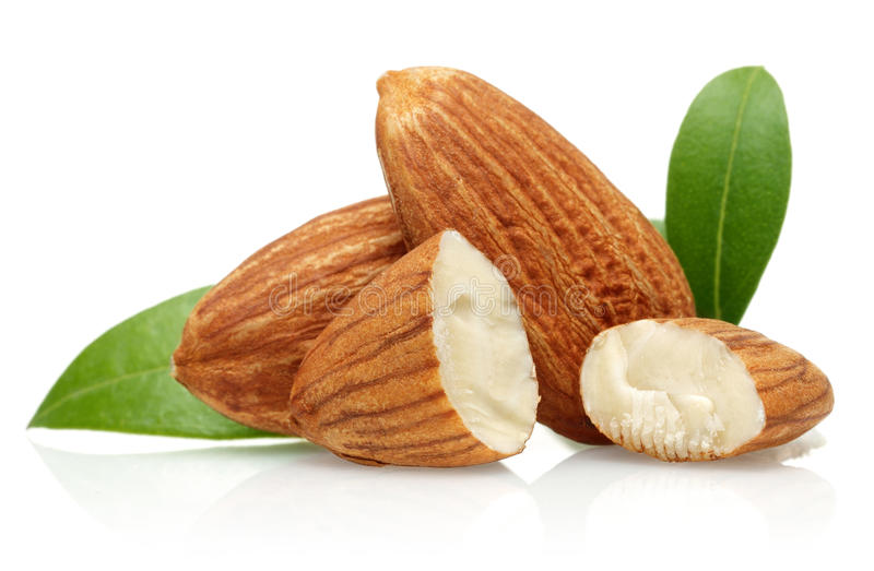 Almond. With leaves on a white background
