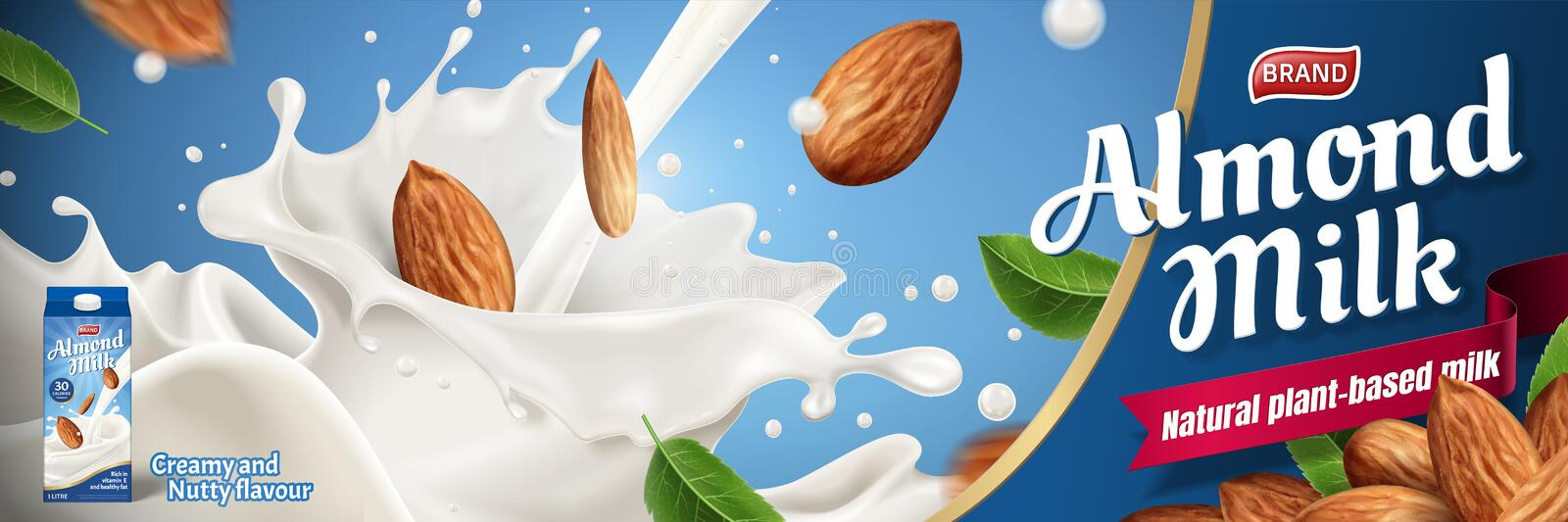 Almond milk ads. With splashing liquid and seeds on blue background in 3d illustration royalty free illustration