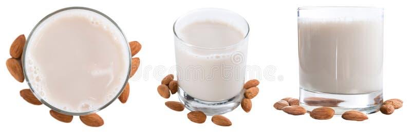 Almond Milk Collage (isolated on white). Almond Milk Collage (isolated on white background; selective focus stock image