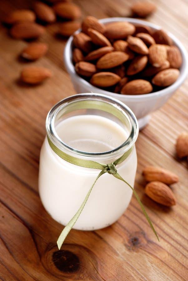 Almond milk in the jar stock image