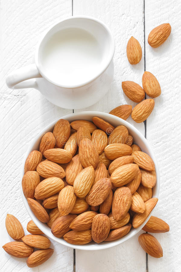 Almond milk stock photo