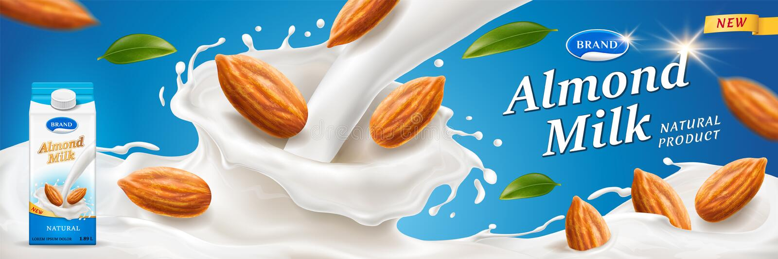 Almond milk splash with nuts for package ads. Almond milk splash with nuts for advertising or package branding on wrapper. Paper container for dairy near vector illustration