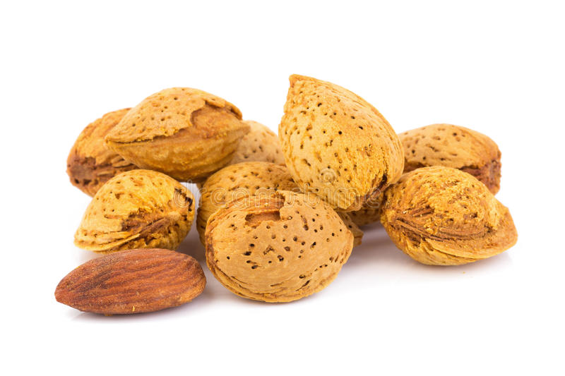 Almond nut in shell and shelled isolated on white background royalty free stock image