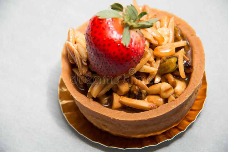 Almond nut tart stock photo