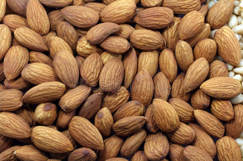 Almond nuts background royalty free stock photography