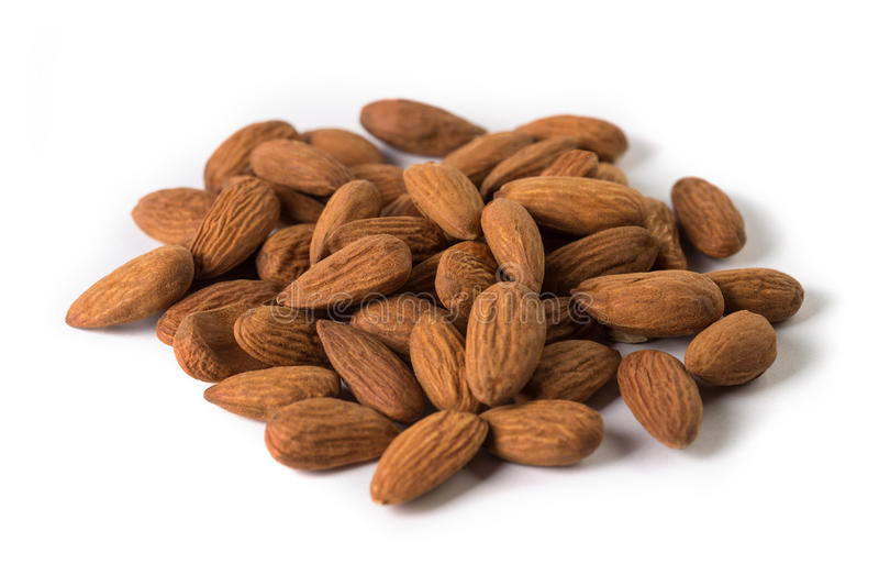 Almond nuts, isolated on white background royalty free stock images