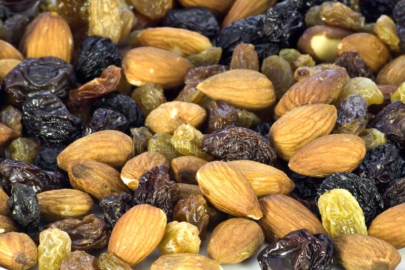 Almond nuts and raisin stock photography