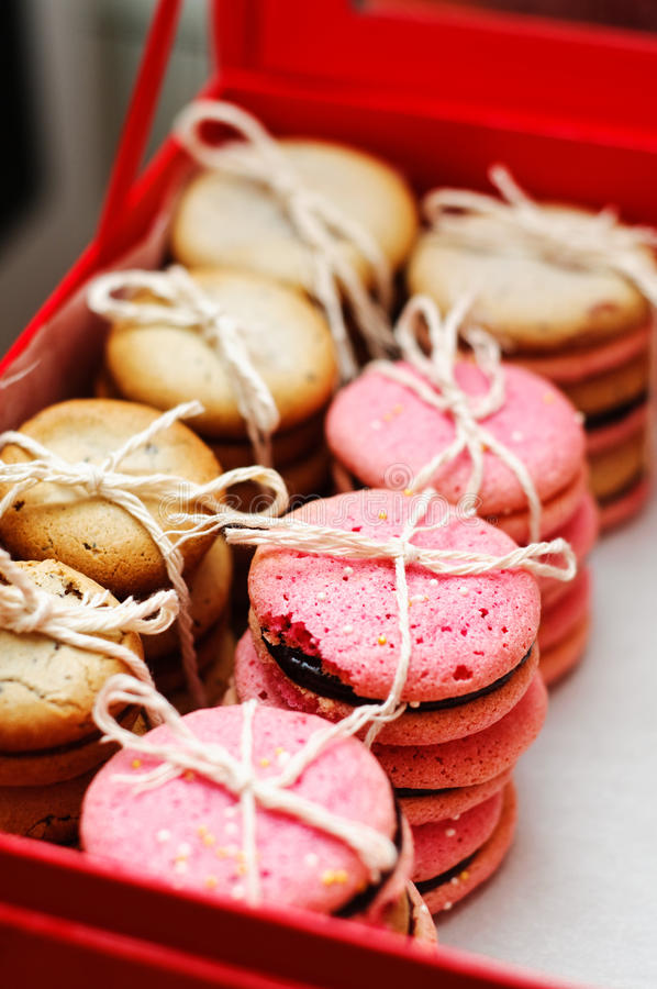 Almond and rabsberry cookies. Ready for delivery royalty free stock image