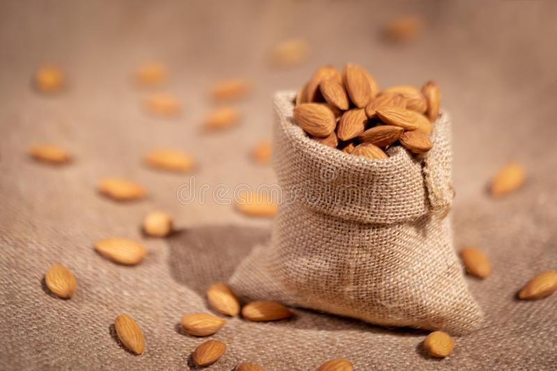 Almond In A Sack Side View stock images