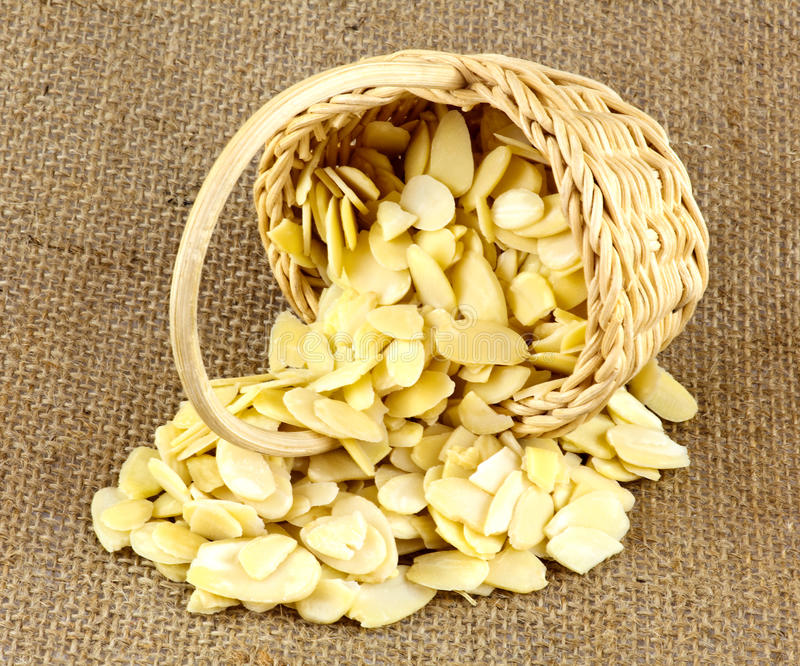 Download Almond Slices In Wicker Basket Stock Image - Image: 30586737