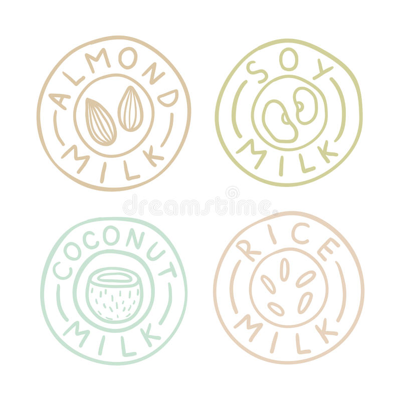 Almond, soy, coconut, rice milk badges. Vector EPS10 hand drawn illustration royalty free illustration